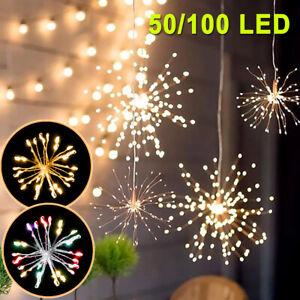 50/150 LED Solar Firework Starburst String Fairy Lights Hanging Outdoor Garden