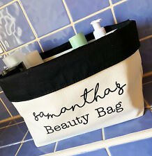 Personalised Canvas Beauty Bathroom Organiser Printed with ANY NAME Black Inner