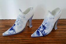 "Pair Antique Delft High Heel Shoes Hand Painted Cobalt Blue & White 6 1/4"" Long"