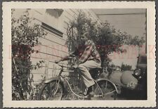 Vintage 1950 Photo Young Man Teen Boy Riding Bicycle Bike 683673