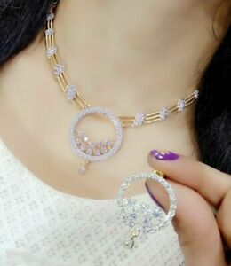 Indian Round AD CZ Gemstone Necklace Earings Gold Plated Charming Jewely US