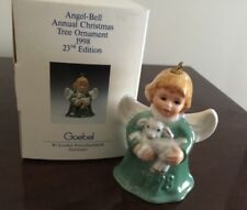 1998 Goebel Angel Bell Ornament Green W/Lamb New Ships Free