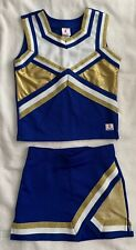Chasse Cheer Cheerleading Uniform Blue White Gold Top-Youth M Skirt-Youth S