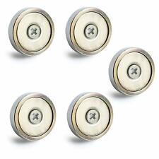 "N50 Neodymium Round Base Magnet Fastener-Stainless Steel-Pk of 5-1.3""Diameter"