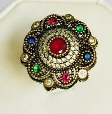 Multi Color Ruby Sapphire Emerald Ring Handmade Turkish Jewelry Statement 7.5