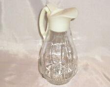 Vintage Log Cabin Syrup Pitcher / Dispenser - White Lid Decanter Bottle