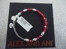 Alex and Ani ROUGE SWAROVSKI Shiny Silver Beaded Bangle New W/ Tag Card & Box
