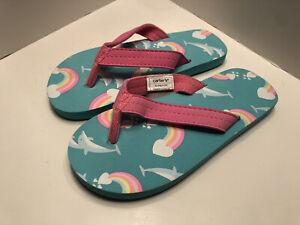 Carter's Toddler Girls Rainbow Flip Flops XL/TG (11-12)
