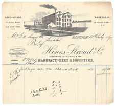 1895 Billhead, Hines Stroud & Co,  Importers, Glengall Wharf, Old Kent Rd LONDON