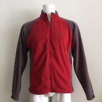 Marmot Mens Jacket L Fleece Zip Up Red Gray Color Block Pockets Polartec Warm