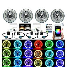 5-3/4 Bluetooth Cell Phone SMD Color Change Halo Angel Eye LED 6k Headlights Set