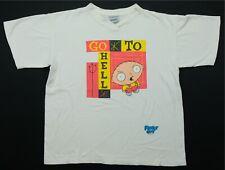 Rare VTG STANLEY DESANTIS Family Guy Go To Hell Stewie 1999 V-Neck T Shirt 90s L