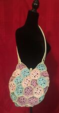 JR  COMECO Straw Crochet Purse Spring/Summer Lined Hippie Pastel Boho NWOT
