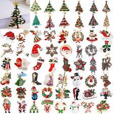 Christmas Tree Deer Snowman Bell Brooch Pin Crystal Santa Claus Xmas Party Gift