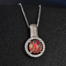 925 Silver Luxury Rainbow Fire Opal Round Pendant Necklace Women Wedding Jewelry