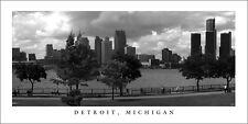 Poster Panorama Detroit Michigan Skyline Black & White Panoramic Fine Art Print