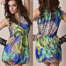 Womens Stunning Chiffon Blue Yellow Peacock Leopard Wrap Shift Tea Dress 12 14