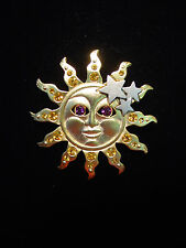 """JJ"" Jonette Jewelry Gold Pewter 'SUN w/Jewel Eyes & Rays' Stars Pin - LAST 2!"