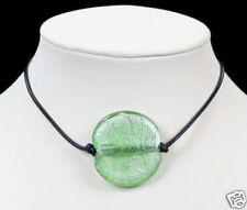 Verde pálido Murano Bolas De Cristal Colgante Collar De Cuero