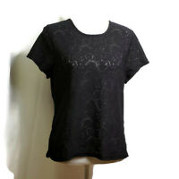 Josephine Chaus Womens Top Size Large Black Floral Design Sheer Short Sleeves