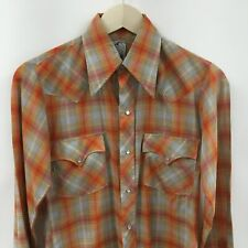 Vintage Mens XS 14.5 The HUSTLER COLLECTION  Western Pearl Snap Shirt -SUPER- 9c