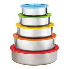 10 Pc Stainless Steel Mixing Bowls- Food Storage Containers Set W/ Colored Lids