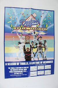 1989 Los Angeles Dodgers Schedule Poster Celebrating 1988 World Series