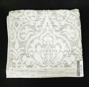 NEW BIANCA TAUPE,GRAY,WHITE FLORAL,DAMASK COTTON BATH TOWEL FROM PORTUGAL