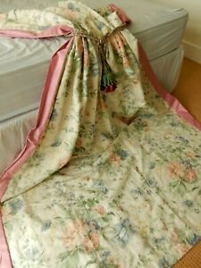 "Vintage Country House Cottage Florals Linen Union Door Long Curtain 85""d x 60""w"
