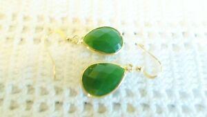 Genuinel Green Jade Teardrop Earrings Wrapped In 14K YGF