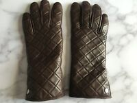 MICHAEL KORS Brown Leather Quilted Gloves Size 7.5