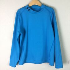 Under Armour Youth Kids Size L Cold Gear Long Sleeve Shirt Mock Neck Blue Fitted