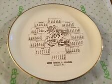Advertising plate 1971 calendar Jordan furniture and appliance Shiloh PA