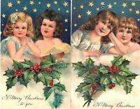 Pretty~Lot of 2 Christmas Angels ~Stars~ Antique PFB~ Christmas Postcards--s-279