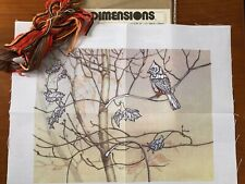 Vtg 85 Dimensions Crewel Embroidery Kit Misty Morning 16 X12 Cardinal Bird Fall