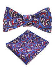 Bowtie with Handkerchief (Self-tie): Paisley - Blue, Red, & White
