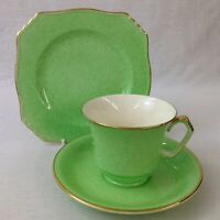 Royal Winton Grimwades Trio Tea Cup Saucer Plate Mottled Green And Gilt Art Deco
