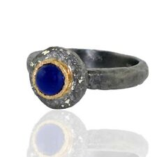 0.92ct Lapis 14k Solid Yellow Gold 925 Sterling Silver Vintage Look Ring Jewelry