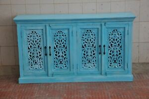 Wooden hand carved traditional cum modern blue sideboard and buffet