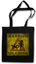 WARNING THIS IS SPARTA SIGN STOFFTASCHE Kick Fun Hole 300 Logo Leonidas Sign