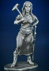 Unpainted Toy Soldier 54mm Miniature Female Blacksmith Metal 1/32 Figure