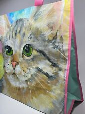 TJ Maxx Reusable Large Shopping Tote Beach Bag ~ Green Eyed Tabby Cat ~ NEW