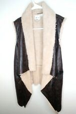 White Crow The Buckle Faux Leather Fur Vest Top Size Small Cute!