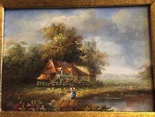 Hübsches Ölgemälde Bauernhaus am Teich