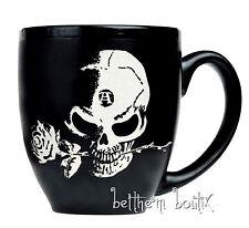Goth Alchemy Mug Tasse Gravé Noir Mat the Alchemist Tête de mort Rose Gothique