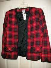 KORET RED & BLACK PLAID BUTTONLESS NWT JACKET/COAT SIZE 8