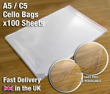 100 x A5 C5 Clear Cello Bags Cellophane Display Bag for Cards - Resealable
