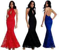 Goddess Lace Keyhole Backless Maxi Evening Fishtail Formal Party Dress Prom