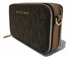 Michael Kors JET SET TRAVEL Crossbody Phone Bag Handbag Wallet Brown Nwt $188