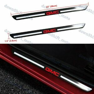 For GMC Carbon Fiber Car Door Welcome Plate Sill Door Scuff Cover Panel Sticker